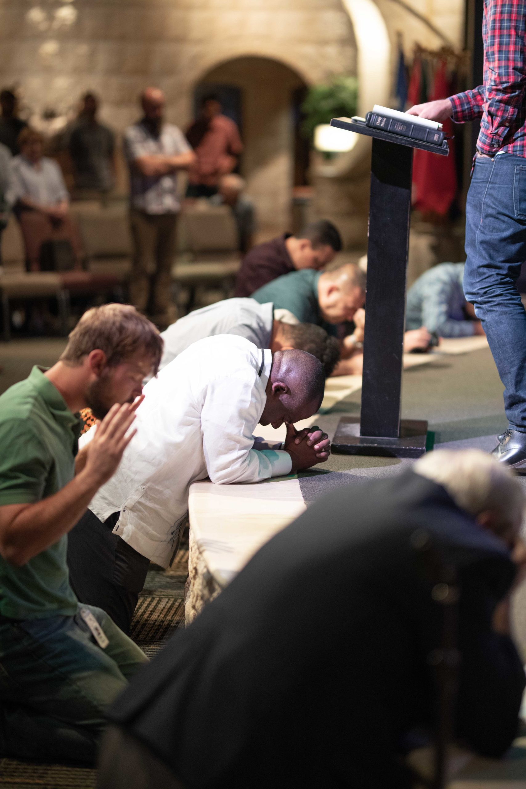 Praying at the altar in Jericho Center